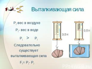 Выталкивающая сила Р1-вес в воздухеР2- вес в водеР1 >Р2Следовательно существует