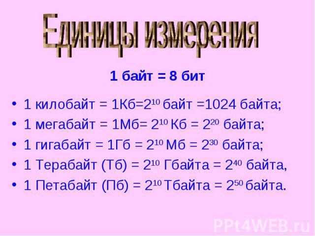 Единицы измерения 1 килобайт = 1Кб=210 байт =1024 байта;1 мегабайт = 1Мб= 210 Кб = 220 байта;1 гигабайт = 1Гб = 210 Мб = 230 байта;1 Терабайт (Тб) = 210 Гбайта = 240 байта,1 Петабайт (Пб) = 210 Тбайта = 250 байта.