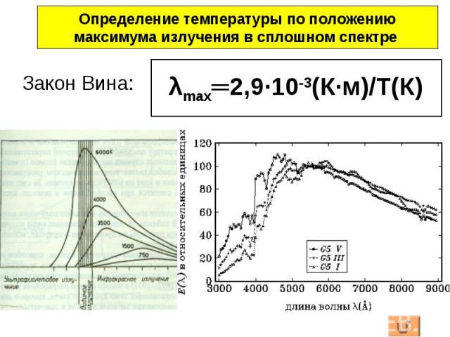 Закон Вина: Определение температуры по положениюмаксимума излучения в сплошном спектре λmax═2,9·10-3(К·м)/Т(К)