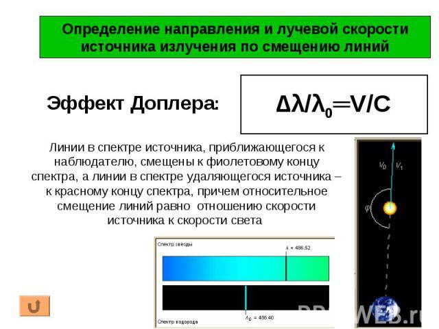Эффект Доплера: Определение направления и лучевой скоростиисточника излучения по смещению линий ∆λ/λ0═V/C Линии в спектре источника, приближающегося к наблюдателю, смещены к фиолетовому концу спектра, а линии в спектре удаляющегося источника – к кра…
