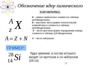 Обозначение ядер химического элемента. Х – символ химического элемента в таблице