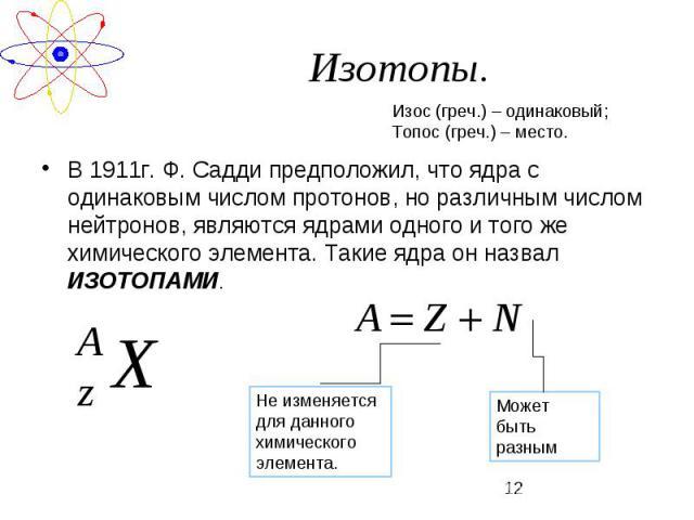 В 1911г. Ф. Садди предположил, что ядра с одинаковым числом протонов, но различным числом нейтронов, являются ядрами одного и того же химического элемента. Такие ядра он назвал ИЗОТОПАМИ.