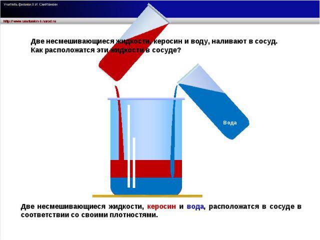 Две несмешивающиеся жидкости, керосин и воду, наливают в сосуд. Как расположатся эти жидкости в сосуде? Две несмешивающиеся жидкости, керосин и вода, расположатся в сосуде в соответствии со своими плотностями.