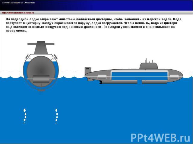 На подводной лодке открывают кингстоны балластной цистерны, чтобы заполнить их морской водой. Вода поступает в цистерну, воздух сбрасывается наружу, лодка погружается. Чтобы всплыть, вода из цистерн выдавливается сжатым воздухом под высоким давление…