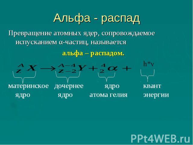 Альфа - распад Превращение атомных ядер, сопровождаемое испусканием α-частиц, называется альфа – распадом. h*νматеринское дочернее ядро квант ядро ядро атома гелияэнергии
