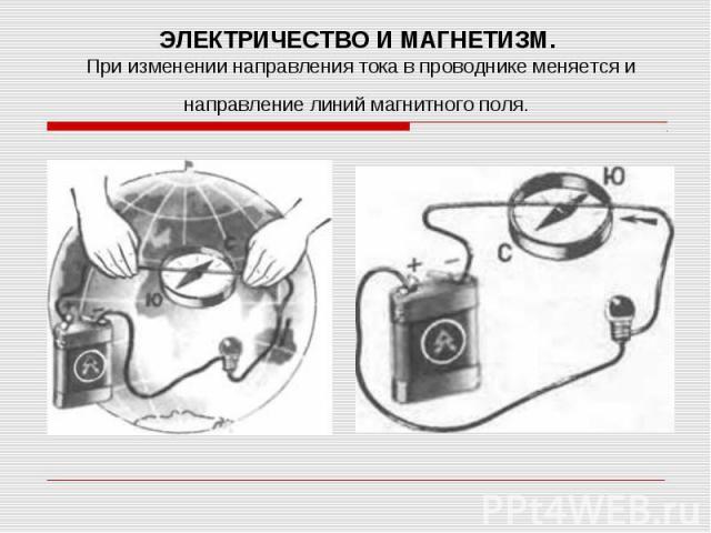 ЭЛЕКТРИЧЕСТВО И МАГНЕТИЗМ. При изменении направления тока в проводнике меняется и направление линий магнитного поля.