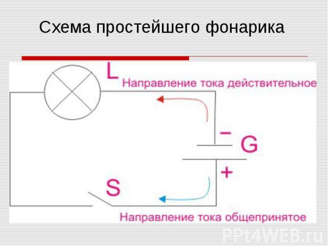 Схема простейшего фонарика