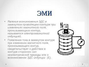 ЭМИ Явление возникновения ЭДС в замкнутом проводящем контуре при изменениях магн