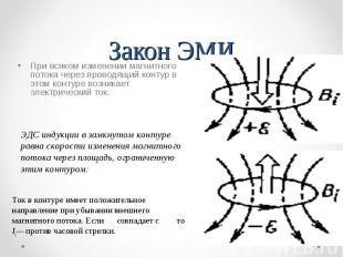 Закон ЭМИ При всяком изменении магнитного потока через проводящий контур в этом