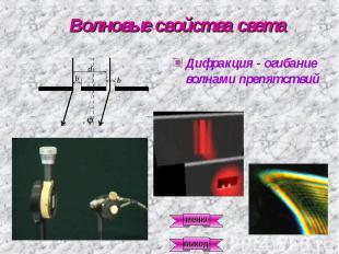 Волновые свойства света Дифракция - огибание волнами препятствий