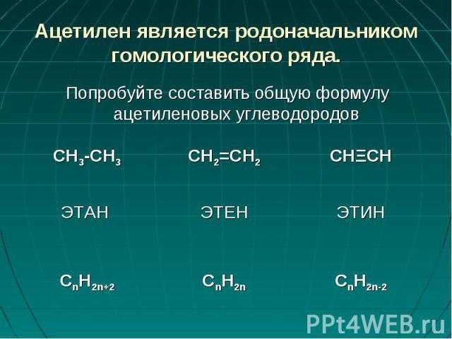 Ацетилен является родоначальником гомологического ряда. Попробуйте составить общую формулу ацетиленовых углеводородов