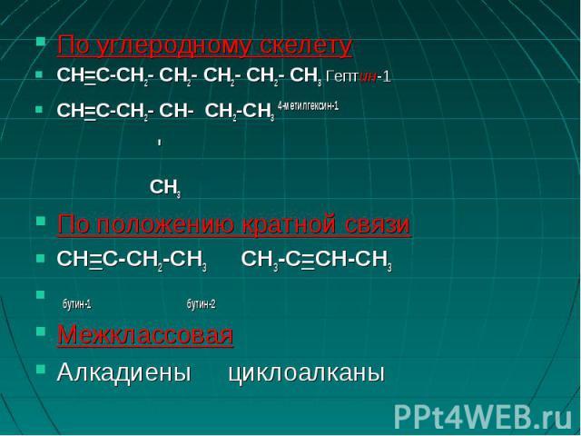 По углеродному скелетуCH=C-CH2- CH2- CH2- CH2- CH3 Гептин-1CH=C-CH2- CH- CH2-CН3 4-метилгексин-1 ' CH3По положению кратной связиCH=C-CH2-CH3 CH3-C=CH-CH3 бутин-1 бутин-2Межклассовая Алкадиены циклоалканы
