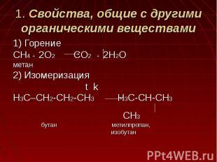 1. Свойства, общие с другими органическими веществами 1) ГорениеCH4 + 2O2 CO2 +