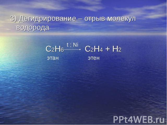 3) Дегидрирование – отрыв молекул водорода3) Дегидрирование – отрыв молекул водородаC2H6 C2H4 + H2