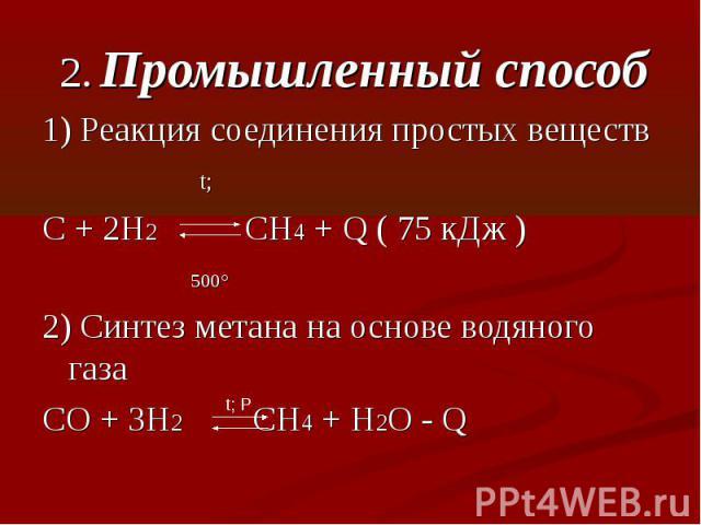 2. Промышленный способ1) Реакция соединения простых веществ t; C + 2H2 CH4 + Q ( 75 кДж ) 500°2) Синтез метана на основе водяного газаCO + 3H2 CH4 + H2O - Q
