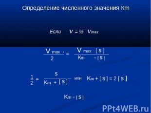 Определение численного значения Кm Если v = ½ vmax