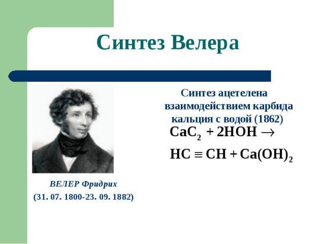 Синтез Велера ВЕЛЕР Фридрих(31. 07. 1800-23. 09. 1882) Синтез ацетелена взаимодействием карбида кальция с водой (1862)