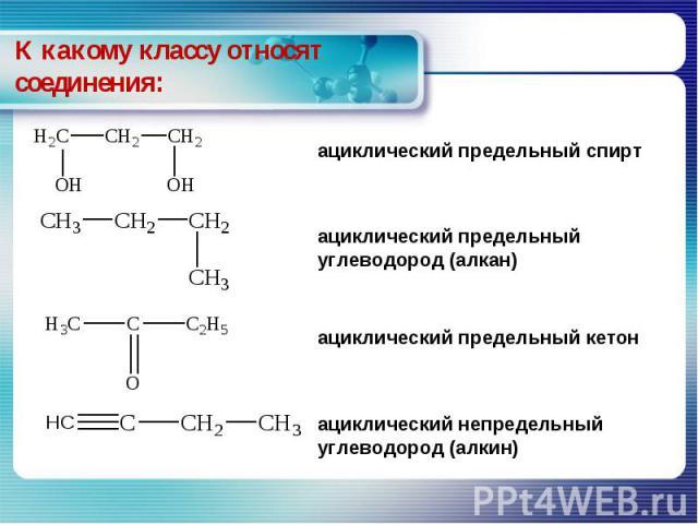 К какому классу относят соединения: ациклический предельный спирт ациклический предельный углеводород (алкан) ациклический предельный кетон ациклический непредельный углеводород (алкин)