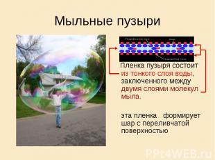 Мыльные пузыри Пленка пузыря состоит из тонкого слоя воды, заключенного между дв