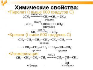 Химические свойства: Пиролиз (t выше 600 градусов С) Крекинг (t ниже 600 градусо