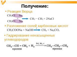 Получение: Реакция Вюрца Разложение солей карбоновых кислот Гидрирование ненасыщ