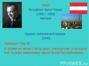 1940Вольфганг Эрнст Паули (1900 – 1958)Австрия Лауреат нобелевской премии (1945)