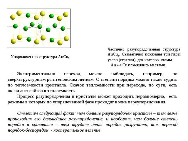 Упорядоченная структура AuCu3. Частично разупорядоченная структура AuCu3. Схематично показаны три пары узлов (стрелки), для которых атомы Au Cu поменялись местами. Экспериментально переход можно наблюдать, например, по сверхструктурным рентгеновским…