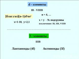IB - VIIIB x=1-10, y=2,1 х + y - № подгруппы исключение: IB, IIB, VIIIB Лантанои