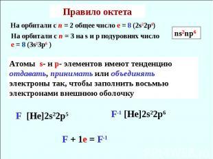 Правило октета На орбитали с n = 3 на s и p подуровнях число е = 8 (3s23p6 ) Ато