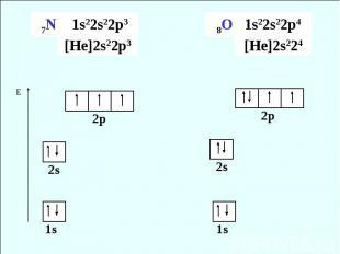 7N 1s22s22p3 [He]2s22p3 8O 1s22s22p4 [He]2s224