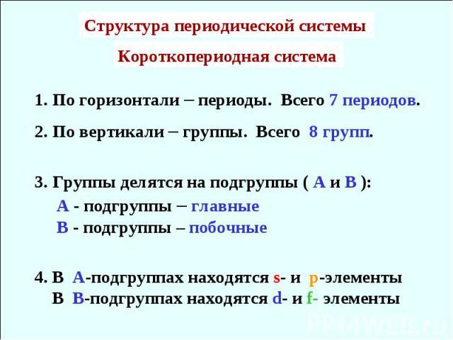 1. По горизонтали – периоды. Всего 7 периодов.2. По вертикали – группы. Всего 8 групп.3. Группы делятся на подгруппы ( А и В ): А - подгруппы – главные В - подгруппы – побочные4. В А-подгруппах находятся s- и p-элементы В В-подгруппах находятся d- и…