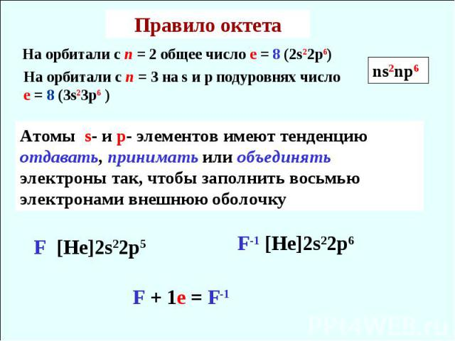 Правило октета На орбитали с n = 3 на s и p подуровнях число е = 8 (3s23p6 ) Атомы s- и p- элементов имеют тенденцию отдавать, принимать или объединять электроны так, чтобы заполнить восьмью электронами внешнюю оболочку