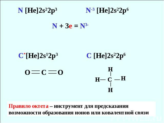 Правило октета – инструмент для предсказания возможности образования ионов или ковалентной связи