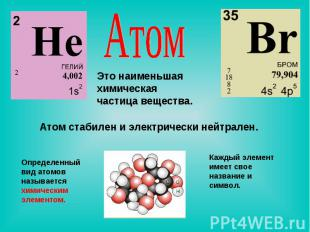 Атом Это наименьшая химическая частица вещества. Атом стабилен и электрически не