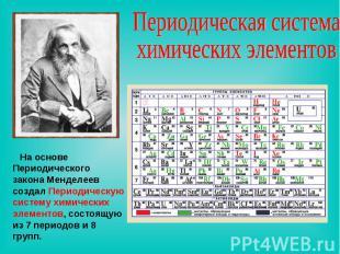 Периодическая система химических элементов На основе Периодического закона Менде