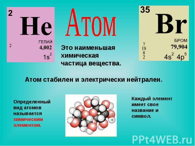 Атом Это наименьшая химическая частица вещества. Атом стабилен и электрически нейтрален. Определенный вид атомов называется химическим элементом. Каждый элемент имеет свое название и символ.