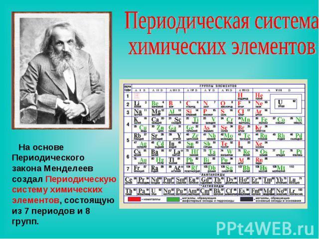 Периодическая система химических элементов На основе Периодического закона Менделеев создал Периодическую систему химических элементов, состоящую из 7 периодов и 8 групп.