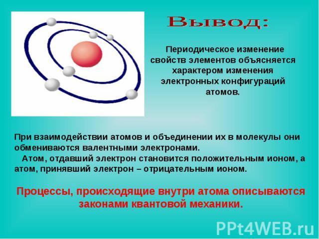 Вывод: Периодическое изменение свойств элементов объясняется характером изменения электронных конфигураций атомов. При взаимодействии атомов и объединении их в молекулы они обмениваются валентными электронами. Атом, отдавший электрон становится поло…
