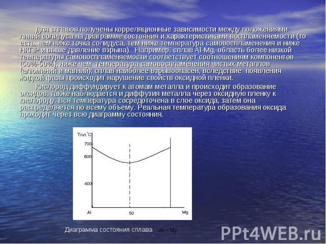 Для сплавов получены корреляционные зависимости между положениями линий солидуса на диаграмме состояния и характеристиками воспламеняемости (то есть, чем ниже точка солидуса, тем ниже температура самовоспламенения и ниже НКПР и выше давление взрыва)…
