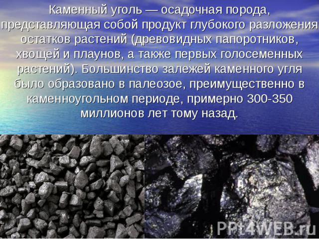 Каменный уголь — осадочная порода, представляющая собой продукт глубокого разложения остатков растений (древовидных папоротников, хвощей и плаунов, а также первых голосеменных растений). Большинство залежей каменного угля было образовано в палеозое,…