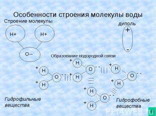 Особенности строения молекулы воды Строение молекулы Образование водородной связ