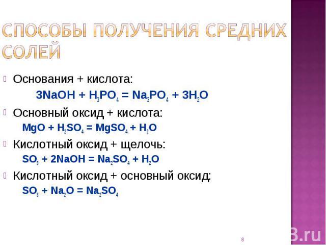 Способы получения средних солей Основания + кислота:3NaOH + H3PO4 = Na3PO4 + 3H2OОсновный оксид + кислота:MgO + H2SO4 = MgSO4 + H2OКислотный оксид + щелочь:SO3 + 2NaOH = Na2SO4 + H2OКислотный оксид + основный оксид:SO3 + Na2O = Na2SO4