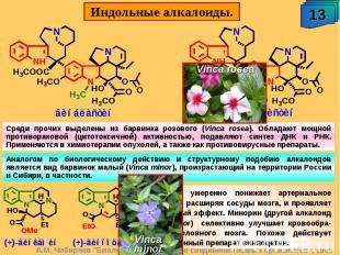 Среди прочих выделены из барвинка розового (Vinca rosea). Обладают мощной против