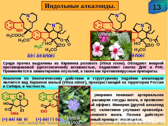 Среди прочих выделены из барвинка розового (Vinca rosea). Обладают мощной противораковой (цитотоксичной) активностью, подавляют синтез ДНК и РНК. Применяются в химиотерапии опухолей, а также как противовирусные препараты. Аналогом по биологическому …