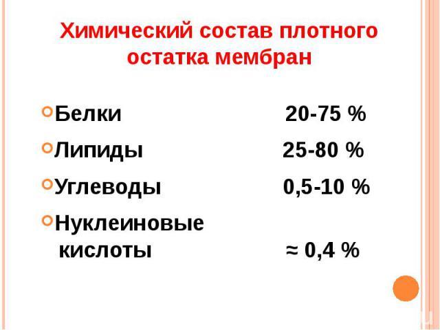 Белки 20-75 %Белки 20-75 %Липиды 25-80 %Углеводы 0,5-10 %Нуклеиновые кислоты ≈ 0,4 %