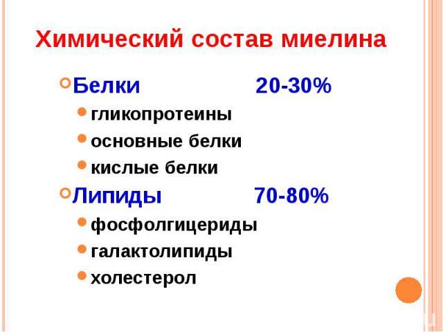 Химический состав миелина Белки 20-30%гликопротеиныосновные белкикислые белкиЛипиды 70-80%фосфолгицеридыгалактолипидыхолестерол