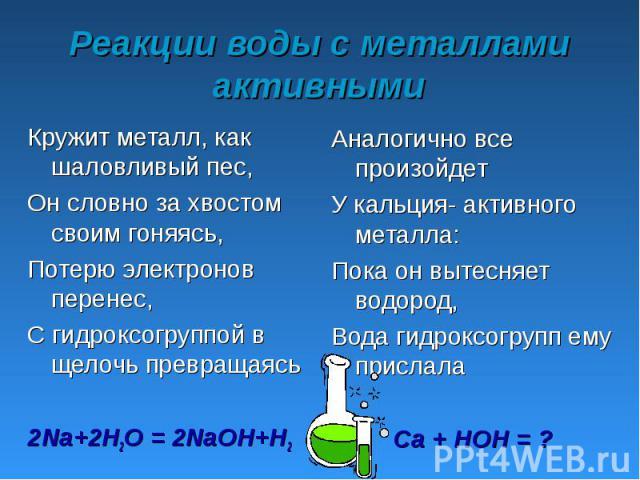 Реакции воды с металлами активными Кружит металл, как шаловливый пес,Он словно за хвостом своим гоняясь, Потерю электронов перенес,С гидроксогруппой в щелочь превращаясь2Na+2H2O = 2NaOH+H2 Аналогично все произойдетУ кальция- активного металла:Пока о…