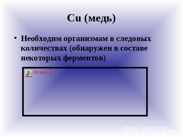 Сu (медь) Необходим организмам в следовых количествах (обнаружен в составе некоторых ферментов)