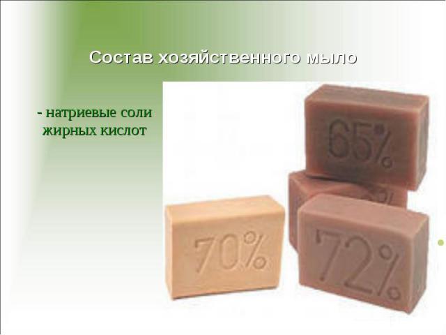 Состав хозяйственного мыло - натриевые соли жирных кислот