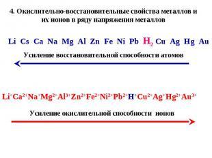 4. Окислительно-восстановительные свойства металлов и их ионов в ряду напряжения